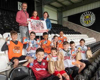 Young people with St Mirren Chairman Gordon Scott and Cllr Marie McGurk