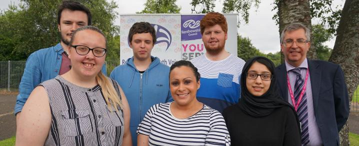 Cllr Michelle Campbell with members of Renfrewshire Youth Voice