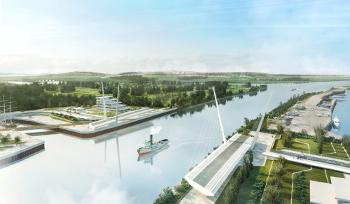 An artist impression of the new River Clyde bridge