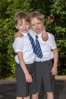 Corey and Owain McGougan, one of four sets of twins starting primary one in Lochwinnoch Primary School.
