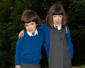 Freddy and Olive Lockwood, one of four sets of twins starting primary one in Lochwinnoch Primary School.