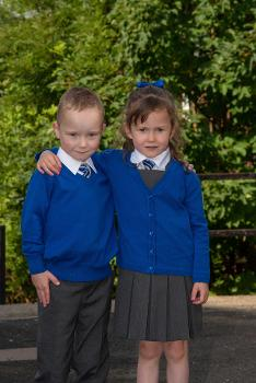 Ayden and Zoe Scott, one of four sets of twins starting primary one in Lochwinnoch Primary School.