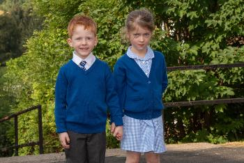 Sam and Honor Crosbie, one of four sets of twins starting primary one in Lochwinnoch Primary School.