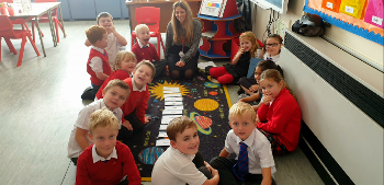 Langbank Primary School's Acting Principal Teacher Carmen Coleman teaching pupils the months of the year