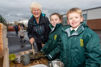 Cathy McEwan with St David's Primary pupils