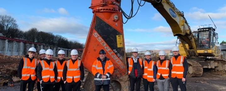 Group photo of pupils with James McAllister, Commercial Manager at Daltons Demolitions