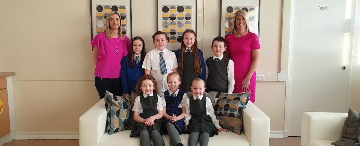 Headteacher, Depute Headteacher and pupils at Heriot Primary School