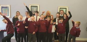 Headteacher, P5 and senior phase pupils at Mary Russell School