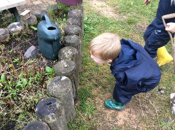 Boy exploring nature at Heriot ELCC