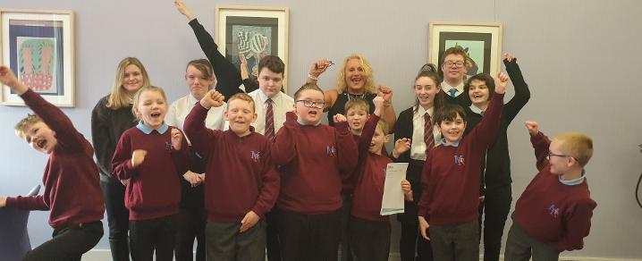 Headteacher and pupils at Mary Russell School