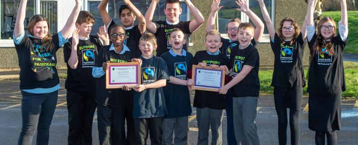 Mary Russell pupils with fair trade award