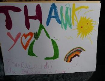 Thank you drawing by Ralston 6-year-old