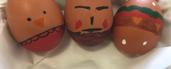 Children's painted eggs