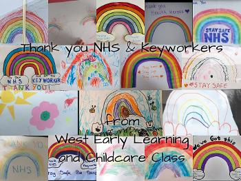 Nursery children draw rainbows at West
