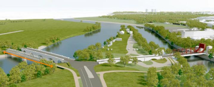 Aerial artist impression of the A8 junction and Black Cart Pedestrian and Cycle Bridge, part of the Glasgow Airport Investment Area project