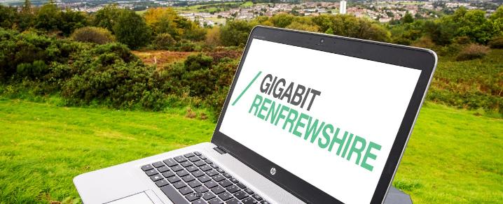 A view of Renfrewshire with the full fibre broadband rollout presented on a laptop