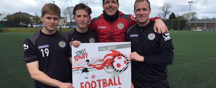 L to R: St Mirren FC players Barry Cuddihy, Kyle McAllister, Jamie Langfield and David Clarkson.