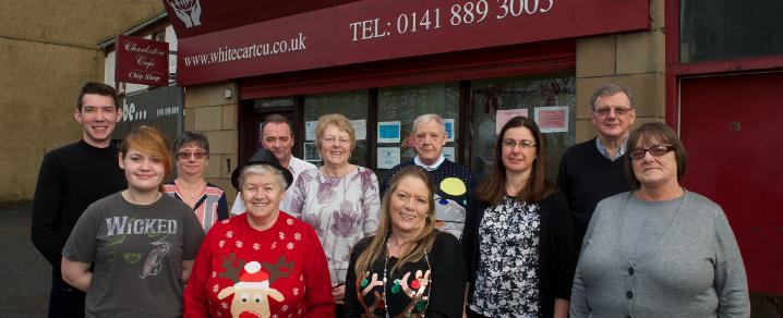 Outside - Representatives from White Cart, Johnstone and Gleniffer Credit Unions