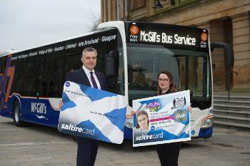 Young Scot cards and McGill's Buses - Council Leader and youngster