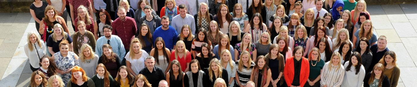 Newly-qualified teachers outside Paisley Town Hall