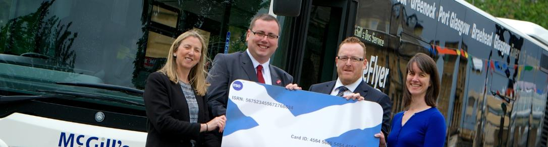 Renfrewshire Council's Youth Services Manager, Fiona Taylor, Renfrewshire's Council Education and Children's Services Convener, Councillor Jim Paterson, McGill's Head of Operations, Colin Napier, and Caroline Wilson of Transport Scotland
