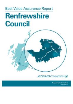 Front cover of Audit Scotland's Best Value Assurance Report on Renfrewshire Council