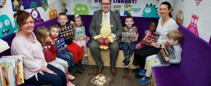 Education Convener, Councillor Jim Paterson, joins kids from Hugh Smiley Early Learning and Childcare Centre for a special number-themed Bookbug on board the Skoobmobile for Maths Week Scotland 2017