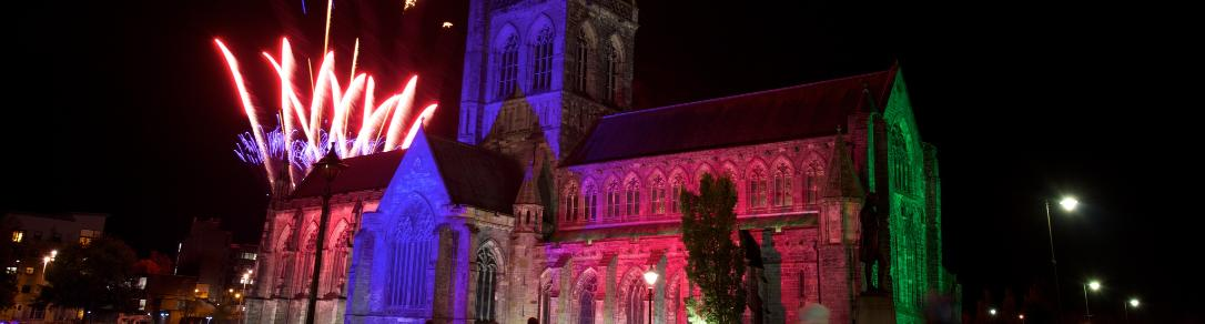 Fireworks over Paisley Abbey