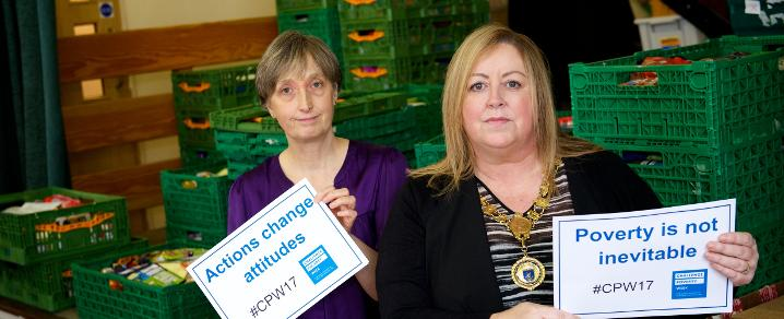 Provost Lorraine Cameron visits Renfrewshire Foodbank during Challenge Poverty Week 2017