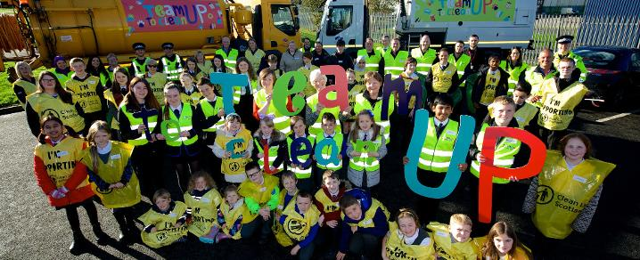 Group photo of the council and community partners supporting Team Up to Clean Up campaign