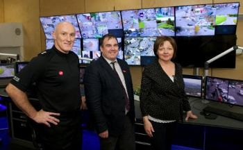 Chief Superintendent Gordon Crossan with Council Leader Iain Nicolson and Councillor Marie McGurk at the Community Safety Hub