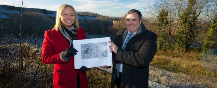 Gillian Lavety Head of Development for Sanctuary Scotland and Renfrewshire Council Leader Iain Nicolson at the west end regeneration masterplan site
