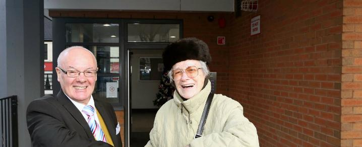Residents Bob Duffy and Ann MacNeill at the main entrance to Provost Close.