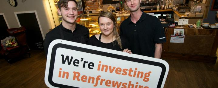 Blend coffee lounge Managing Director Alan Baird (far right) with Invest-supported staff James Maclennan and Chelsea Kenny.