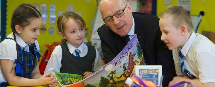 John Swinney and Our Lady of Peace pupils