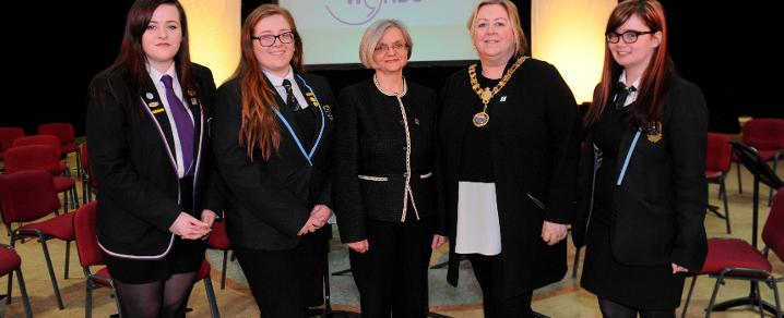 Dr Elwira Grossman and Renfrewshire's Provost Lorraine Cameron with pupils from Linwood High and Barrhead High