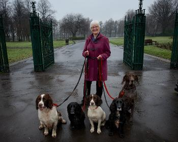 Councillor Cathy McEwan with dogs