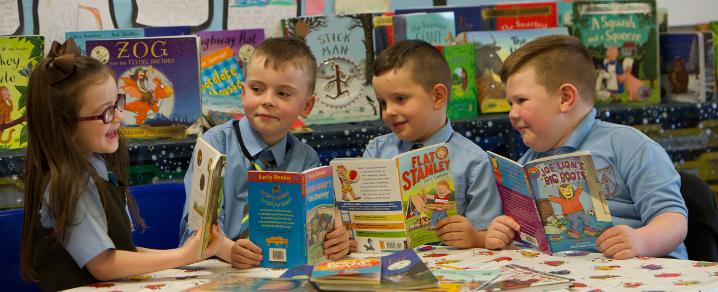 Pupils reading in St Anthony's Primary School