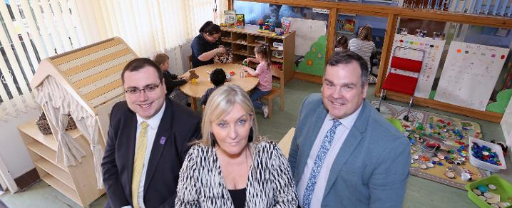 Education and Children's Services Convener, Councillor Jim Paterson, Head of Hugh Smiley Early Learning and Child Care Centre, Shirley Allan, and Renfrewshire Council Leader Iain Nicolson.
