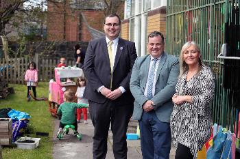 Education and Children's Services Convener, Councillor Jim Paterson, Renfrewshire Council Leader Iain Nicolson, and Head of Hugh Smiley Early Learning and Child Care Centre, Shirley Allan.