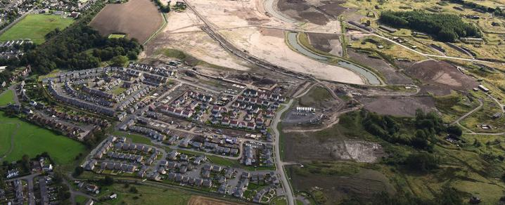 An aerial view of the transformation of the former Royal Ordnance Factory site in Bishopton