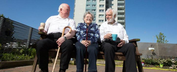 Residents outside their Glencairn Court multi-storey homes