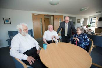 Residents at Glencairn Court with Cllr John McNaughtan