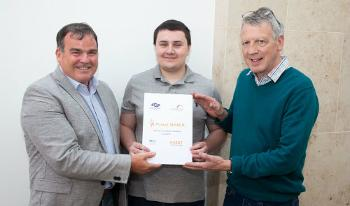 Project Search graduate Ross McCreadie with Cllr Nicolson and Hugh O'Neill, Technical Director, Weee Solutions Ltd