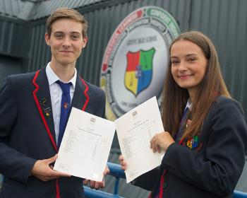 Gryffe High S6 pupils Euan and Maisie Huey with their exam results
