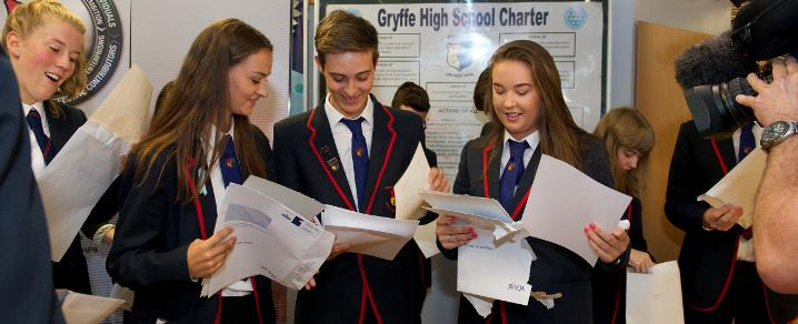 S6 pupils, Maisie and Euan Huey, open their exam results at Gryffe High School