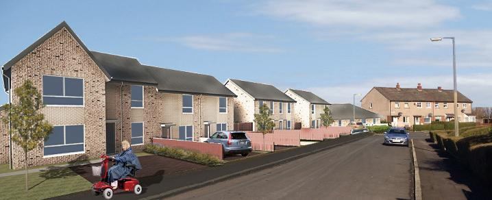 Artist impression of Spruce Avenue, part of the Johnstone Castle housing regeneration project.