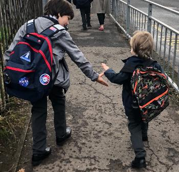 Pupils walking to Wallace Primary School