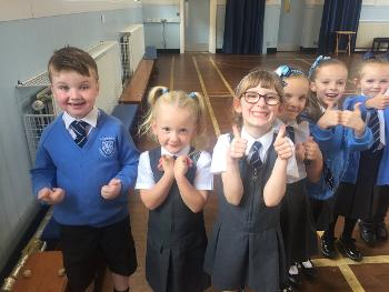 Excited Primary Two pupils from Lochfield Primary School