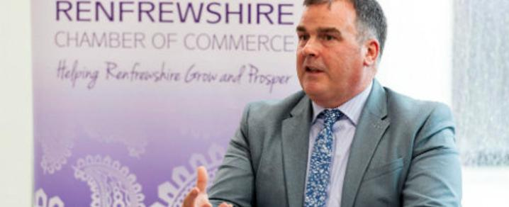 Renfrewshire Council Leader Iain Nicolson speaking at a Renfrewshire Chamber of Commerce business breakfast